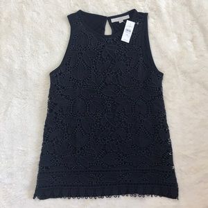 NWT Navy Loft Tank Top Knit with Lace Overlay